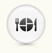 Food Serving icon on white round vector button