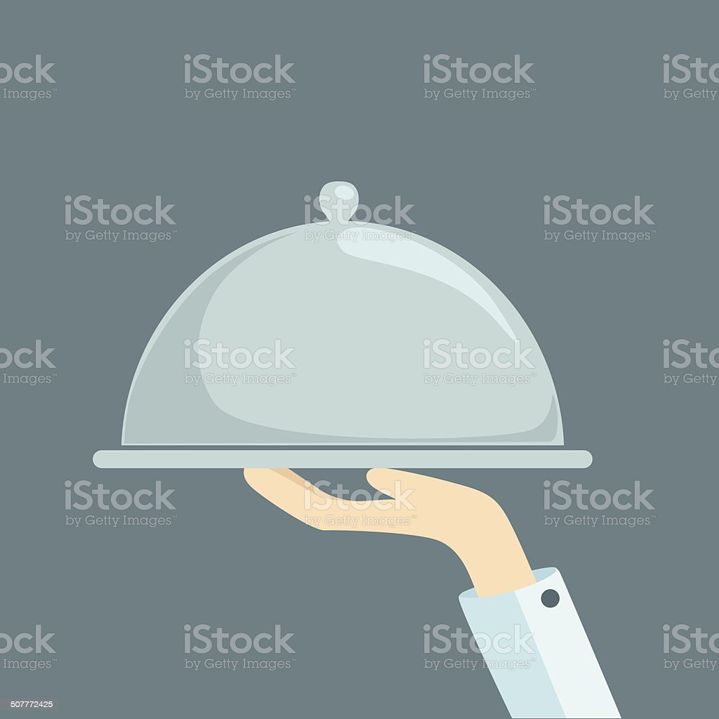 Food serving tray platter with hand vector art illustration