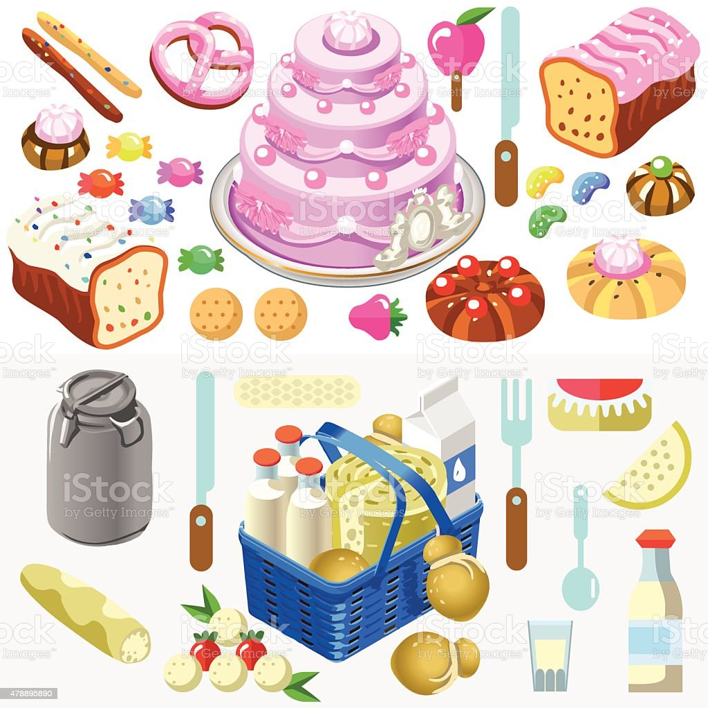 Food Set Candy and Dairy 3D Isometric vector art illustration