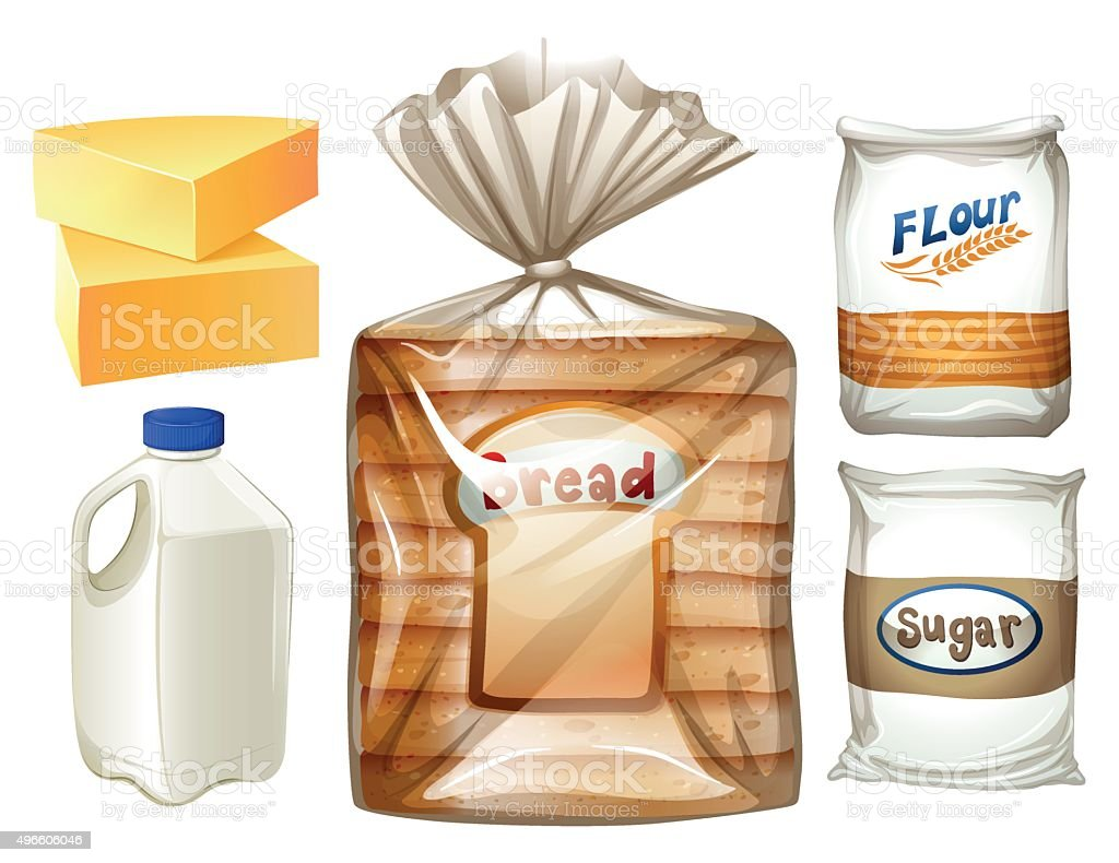 Food set with bread and milk vector art illustration