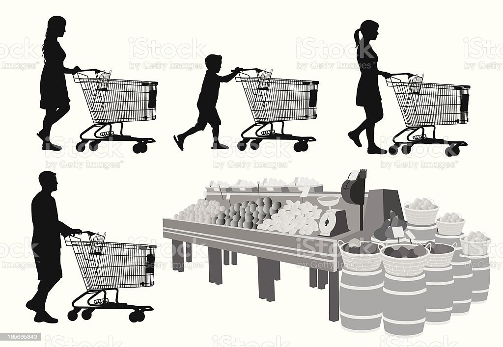 Food Shopping Vector Silhouette royalty-free stock vector art