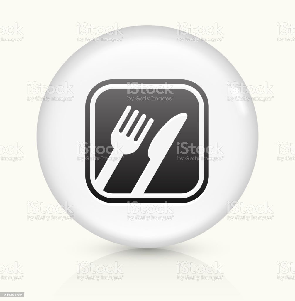 Food Sign icon on white round vector button vector art illustration