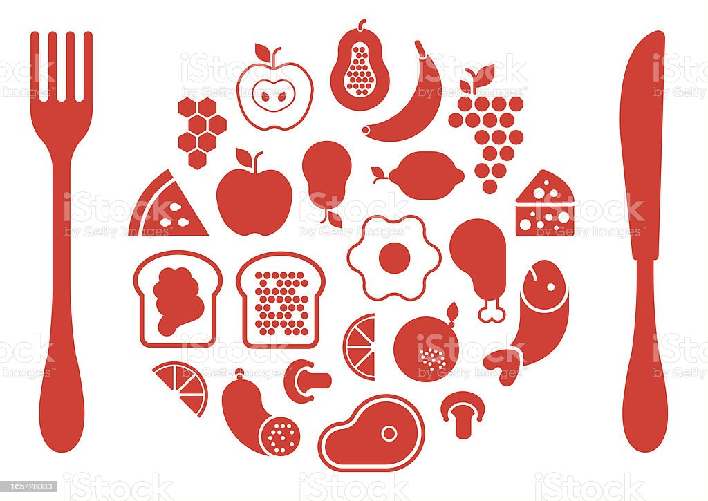 Food silhouettes vector art illustration