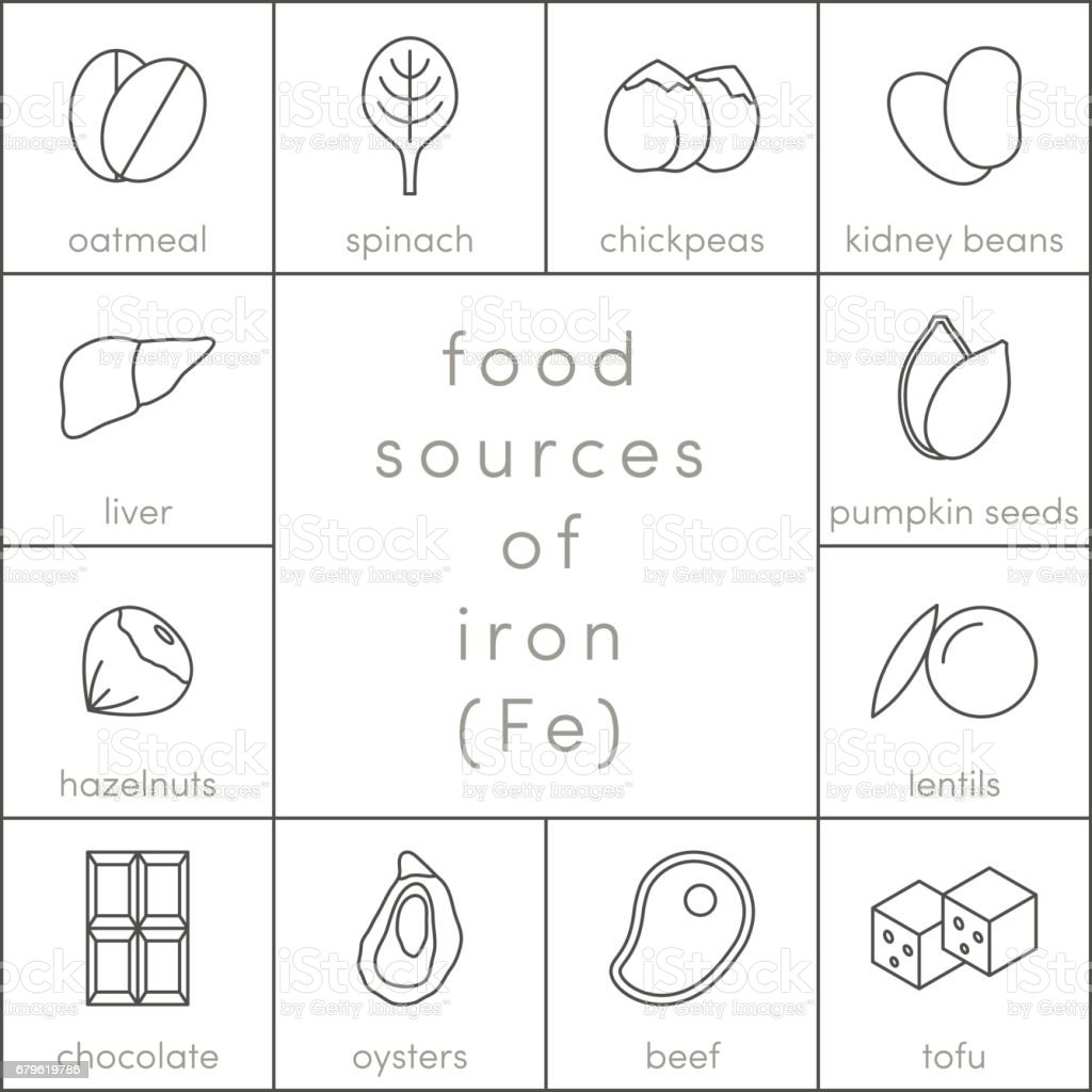 Food sources of iron vector art illustration