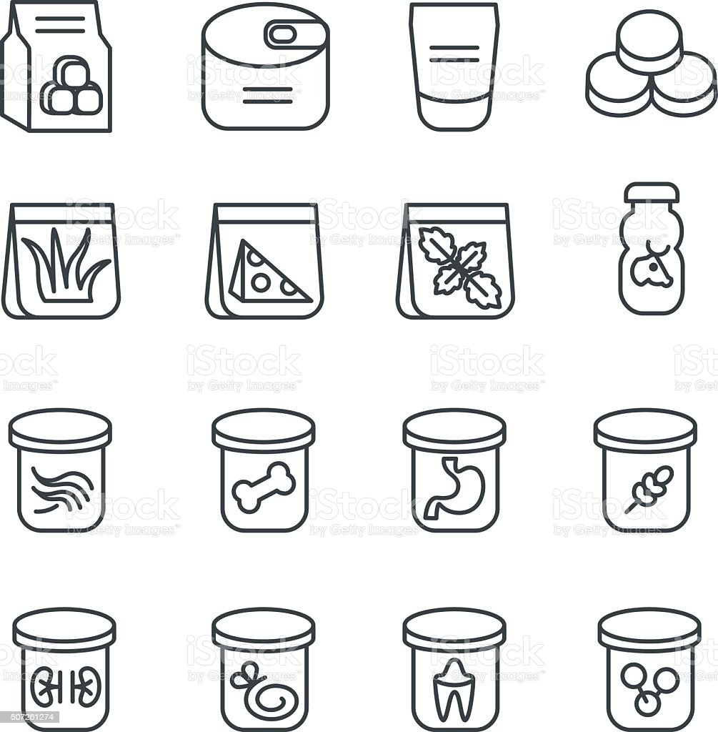 Food stuff for cat as line icons vector art illustration
