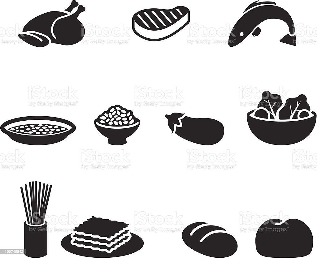 Food symbols vector art illustration