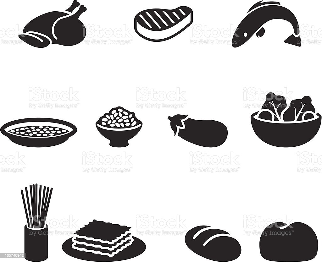 Food symbols vector art illustration