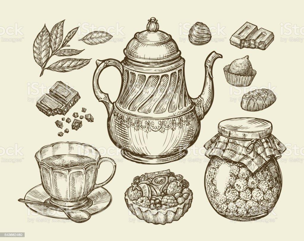 Food, tea, dessert. Hand drawn vintage teapot, kettle, cup, raspberry vector art illustration