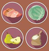 Food. The ingredients - meat, groceries, vegetables, fruit,