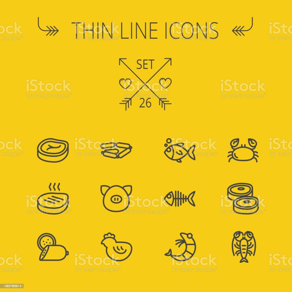 Food thin line icon set vector art illustration