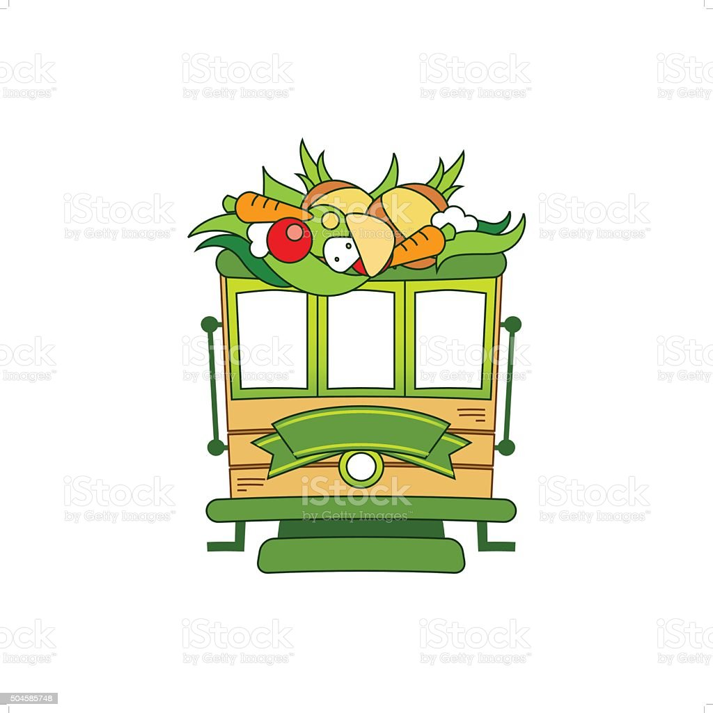 Food Train vector art illustration