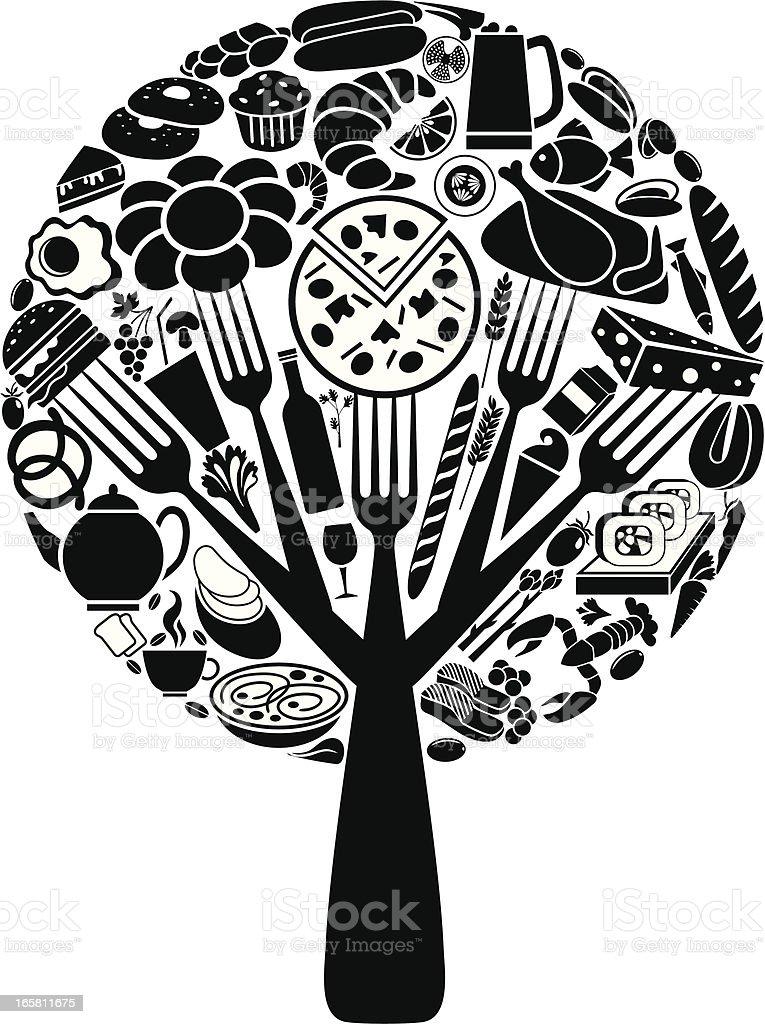 Food tree vector art illustration