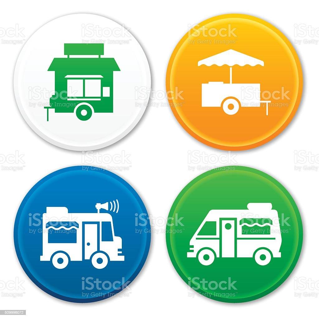 Food Truck and Food Cart Symbols vector art illustration