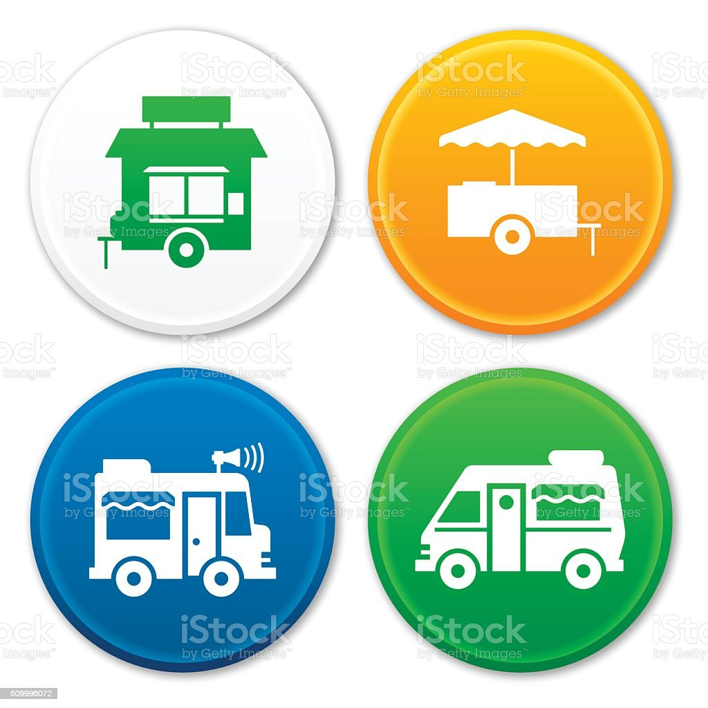 Food Truck and Food Cart Symbols vector art illustration