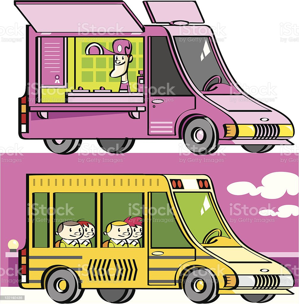 food truck and school bus royalty-free stock vector art