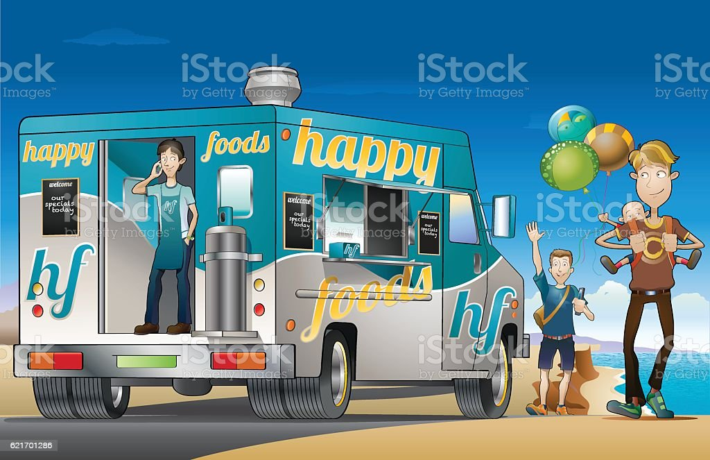 Food truck by the beach vector art illustration