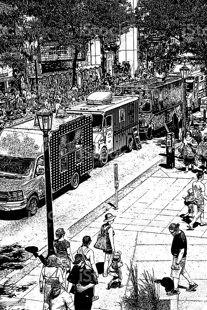 Food Truck Festival vector art illustration
