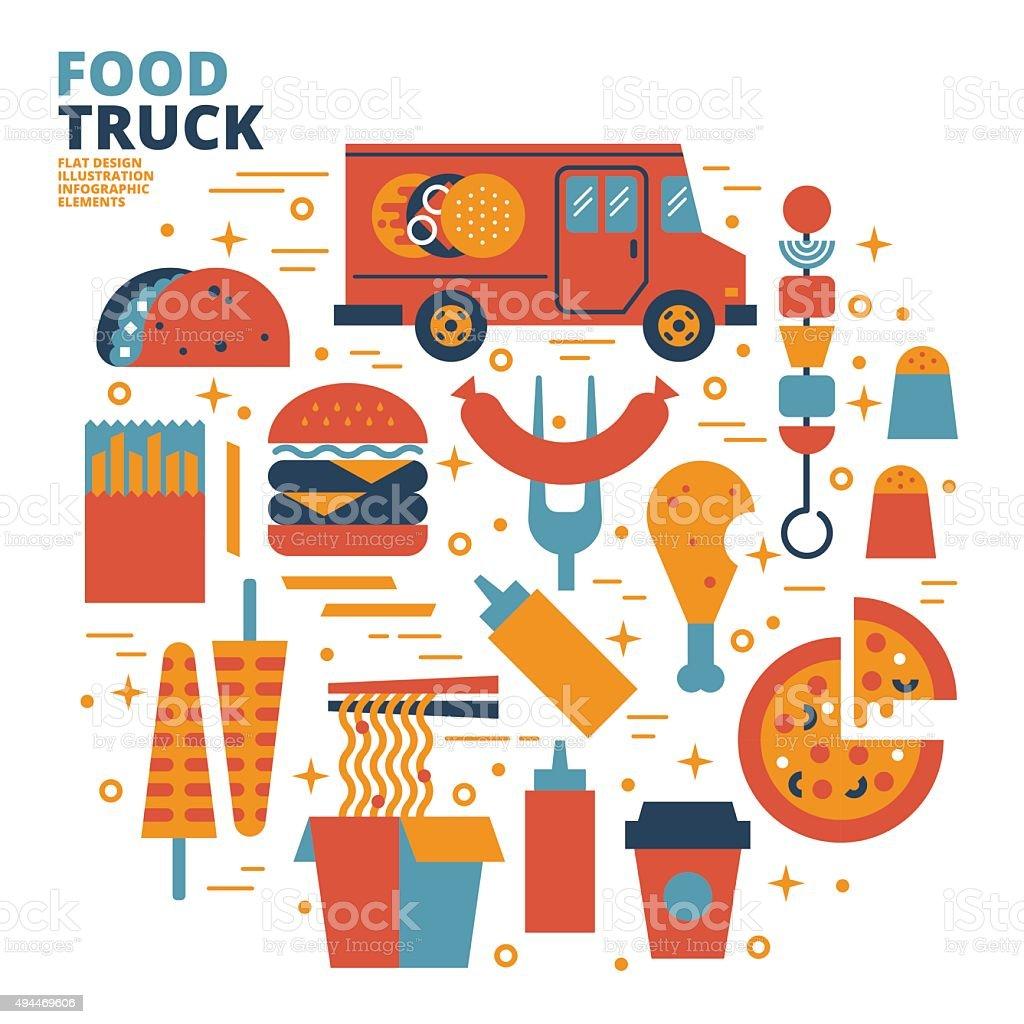 Food Truck, Flat Design, Illustration vector art illustration