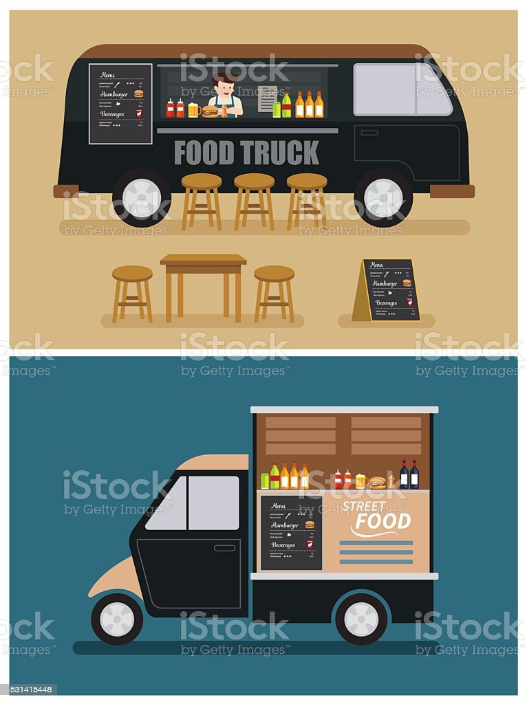 food truck flat design vector art illustration
