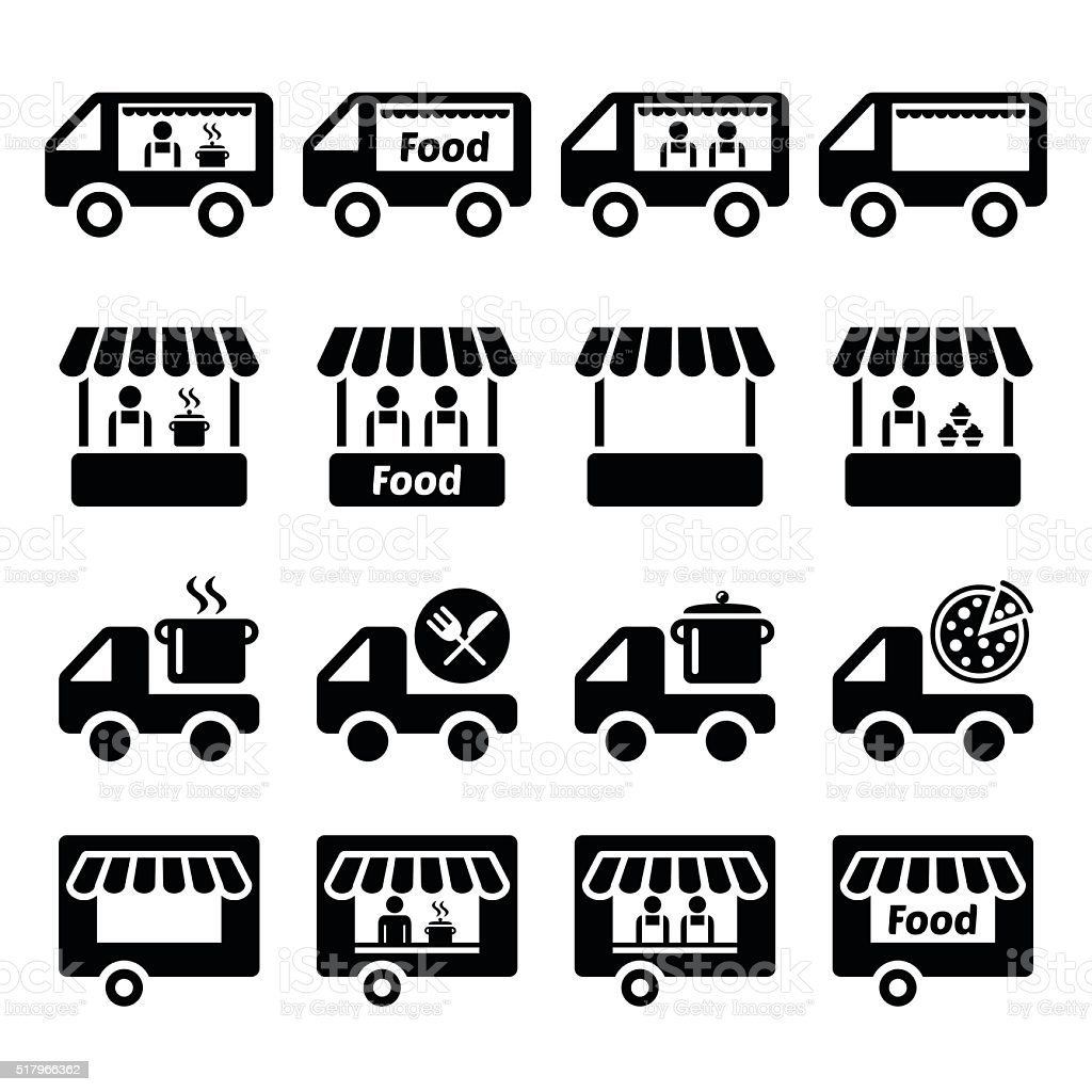 Food truck, food stand and food trailer icons set vector art illustration