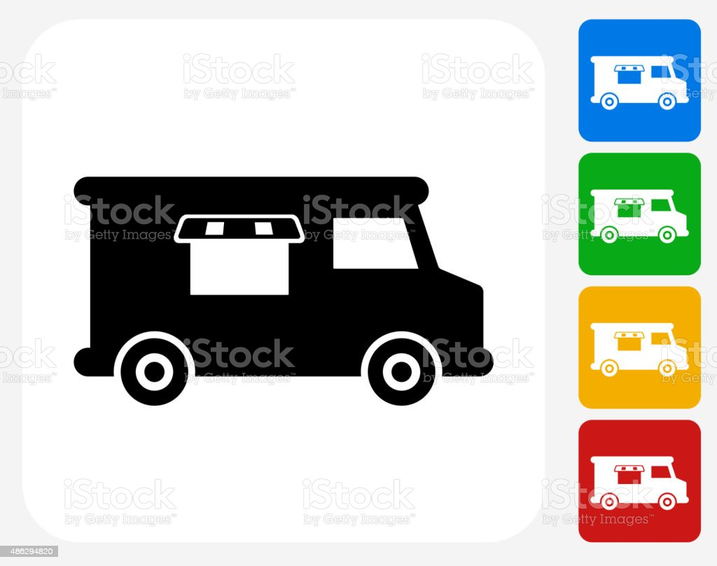 Food Truck Icon Flat Graphic Design vector art illustration