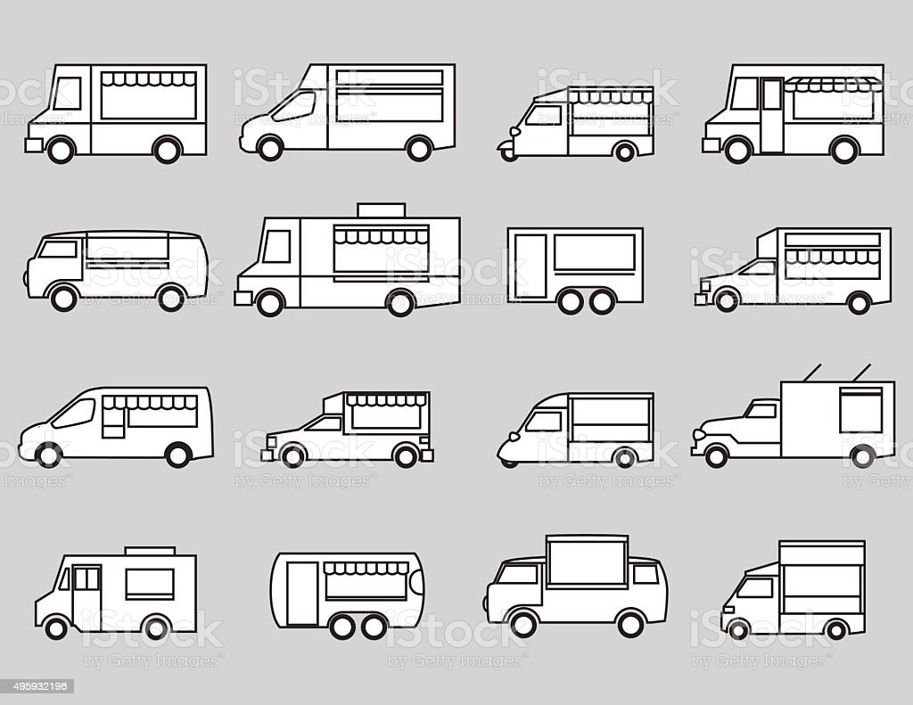 food truck icon set vector art illustration