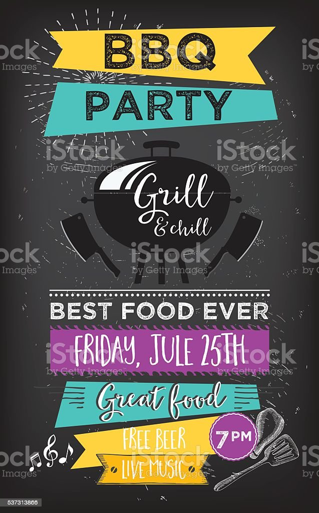 Food truck party invitation. Food menu template design. vector art illustration