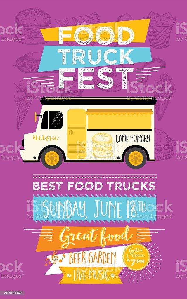 Food truck party invitation. Food menu template design. vector art illustration