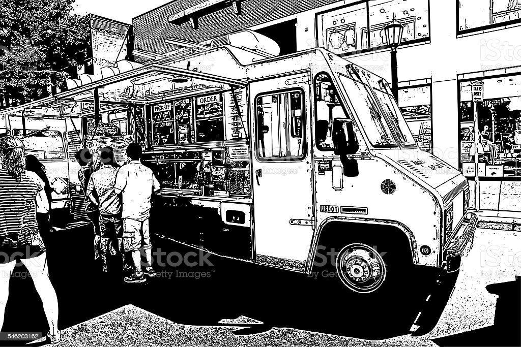 Food Truck Serving Food to hungry customers vector art illustration