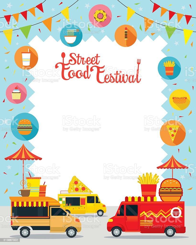 Food Truck, Street Food Festival Poster, Frame vector art illustration