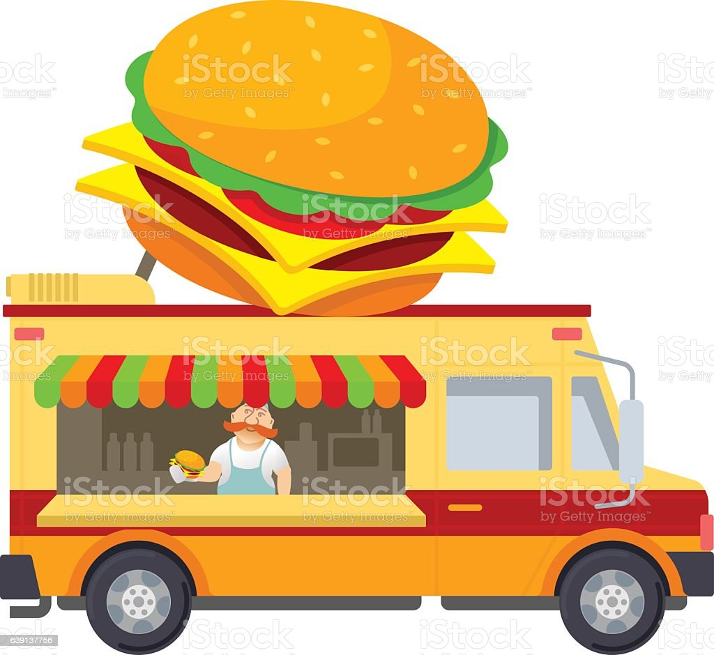 Food truck vector flat illustration vector art illustration