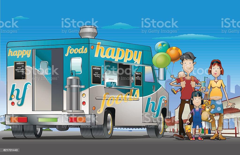 Food truck weekend vector art illustration