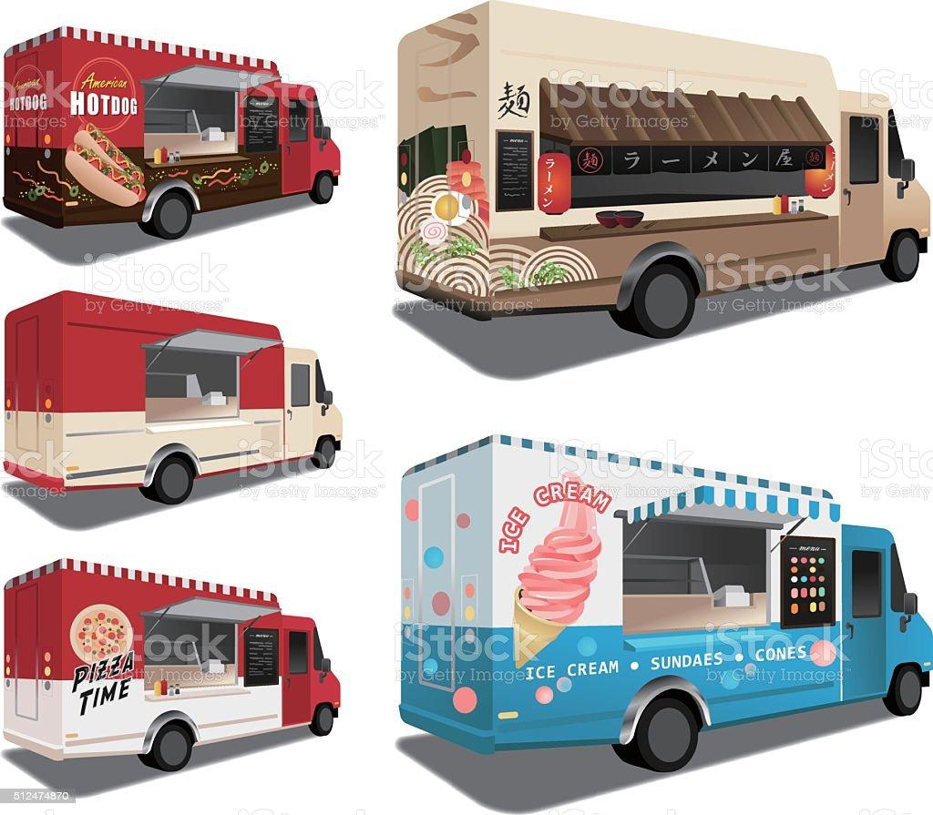 Food trucks vector art illustration