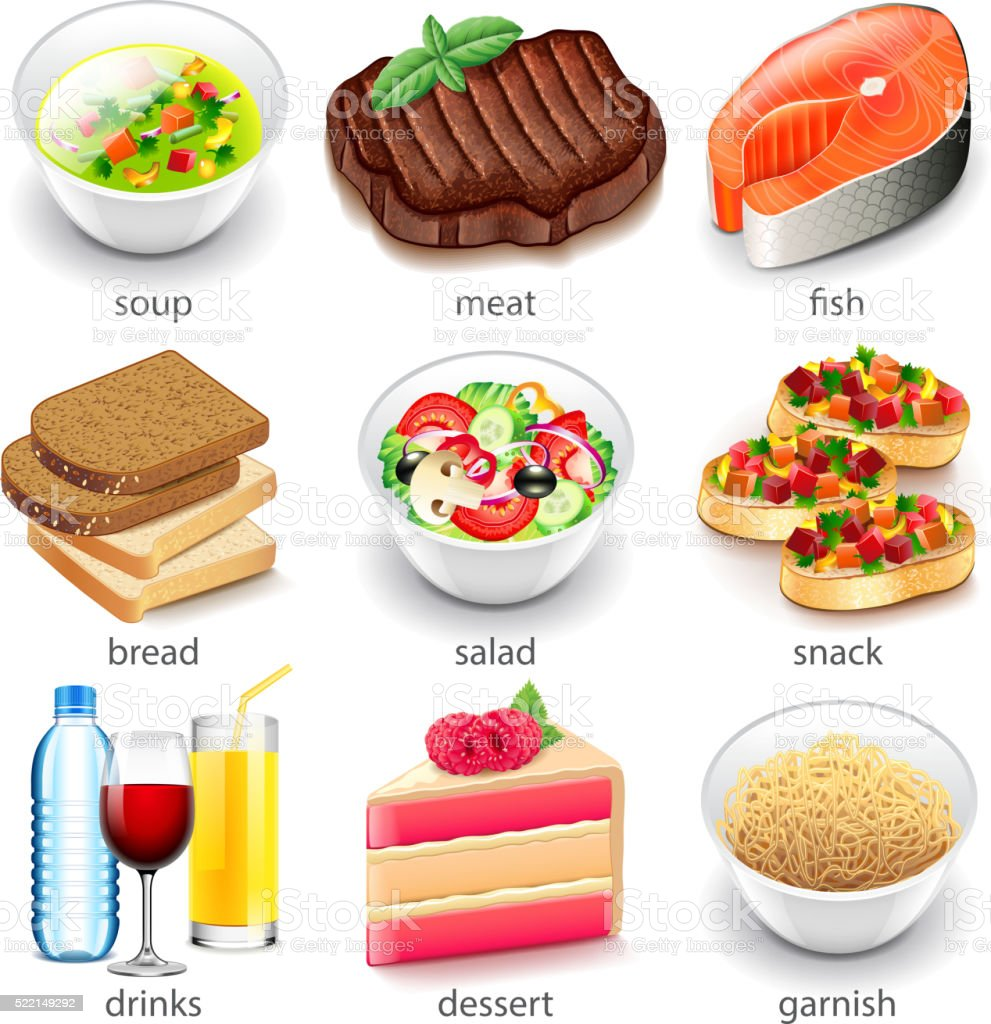 Food types icons vector set vector art illustration