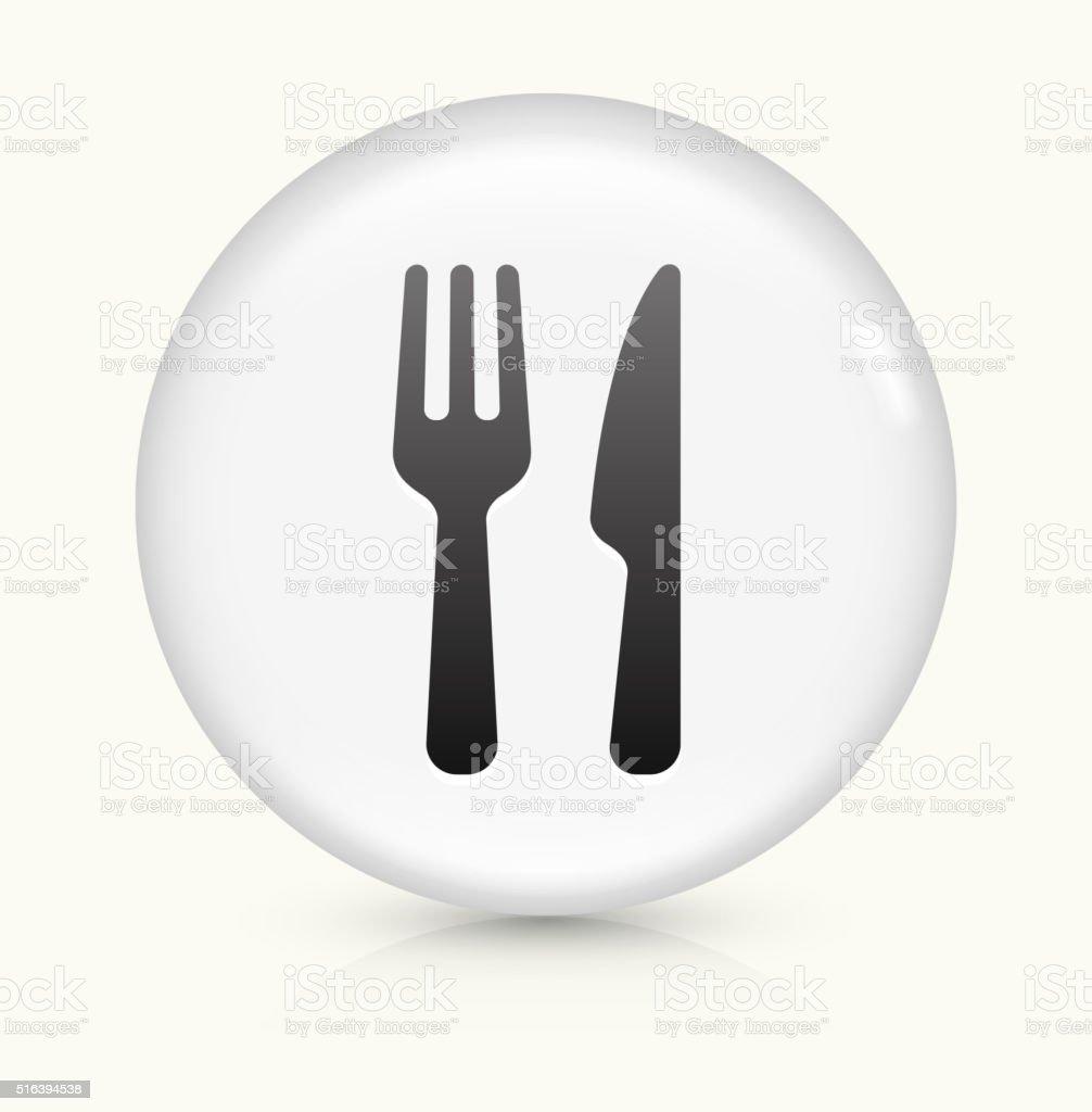 Food Utensils icon on white round vector button vector art illustration