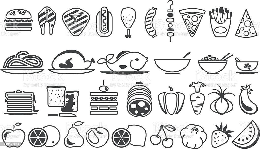 food vector icons vector art illustration
