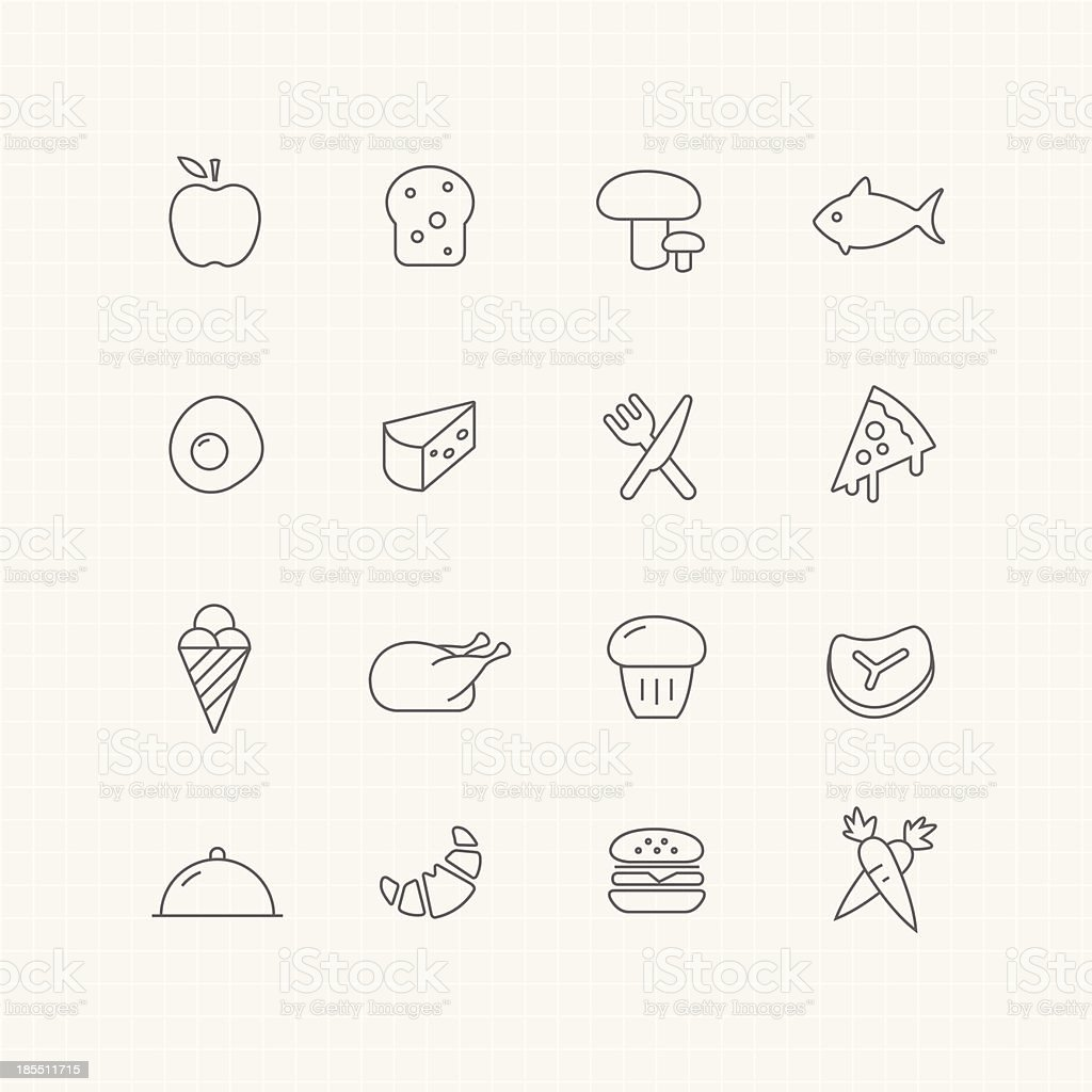 Food vector thin line symbol icon royalty-free stock vector art