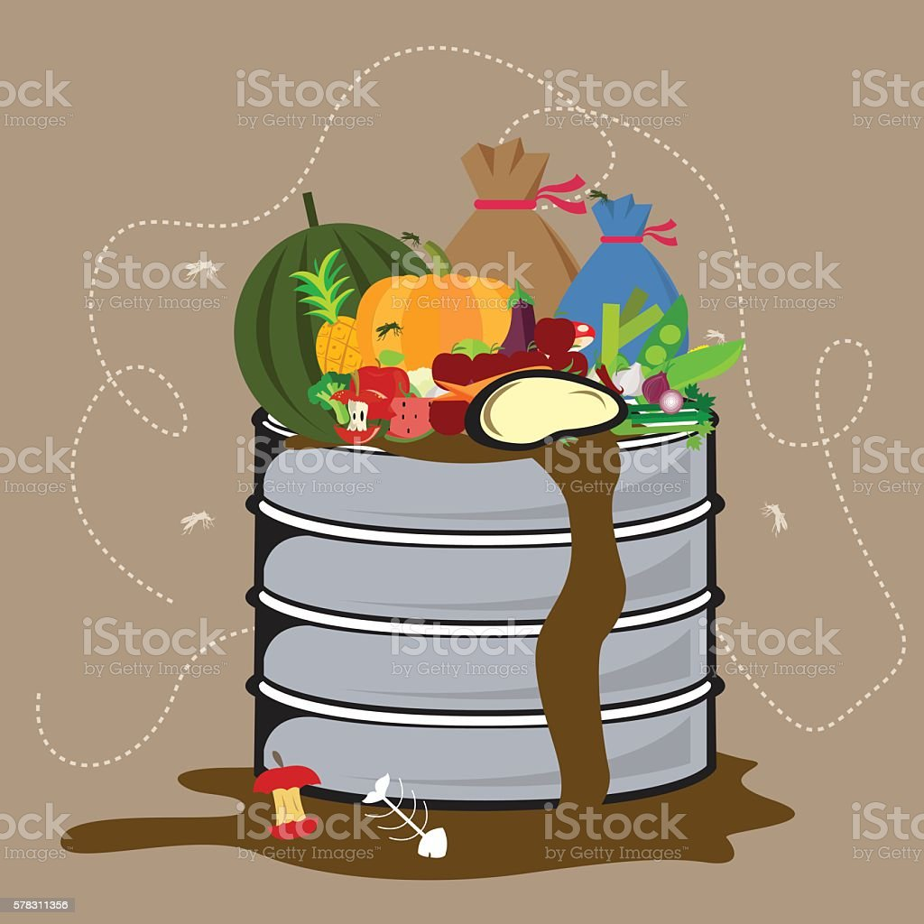 food waste organic degradable in garbage bin with flied all vector art illustration