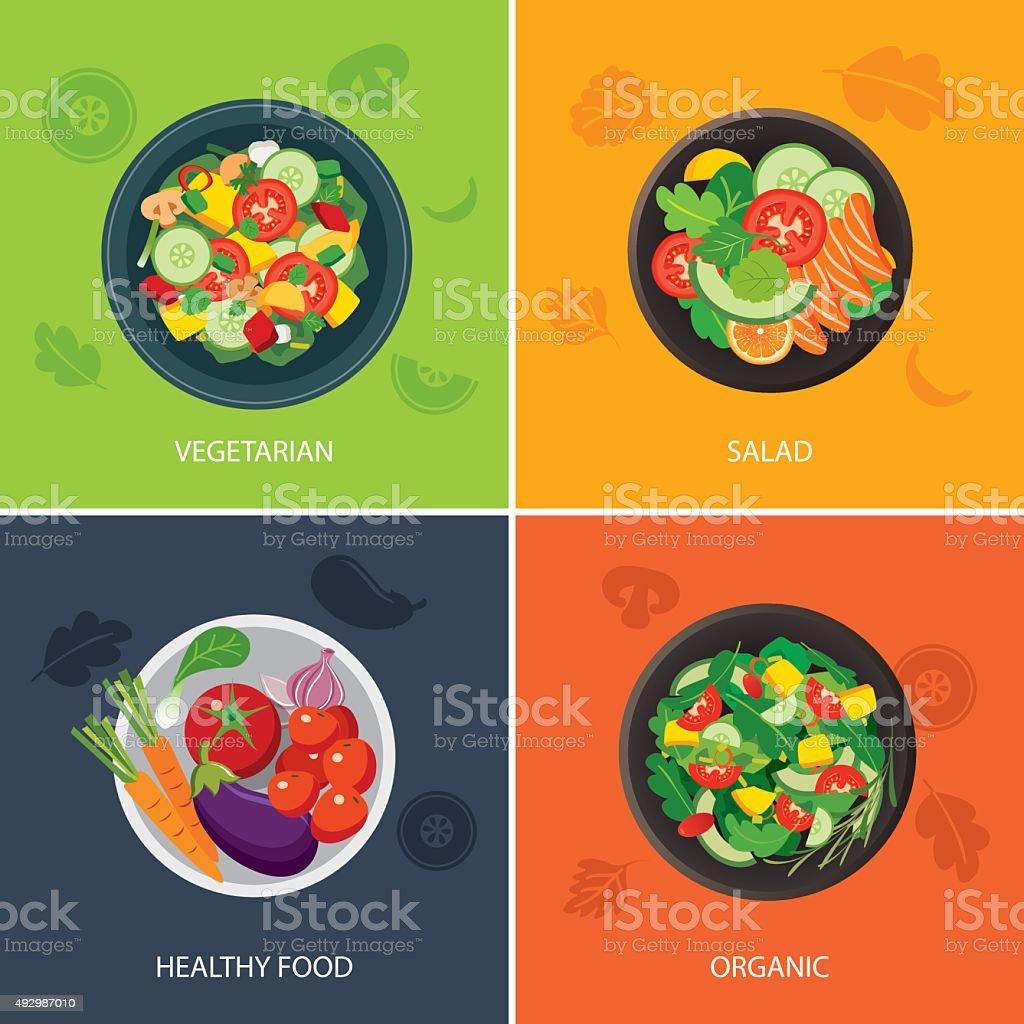 food web banner flat design. vegetarian , organic food, healthy vector art illustration