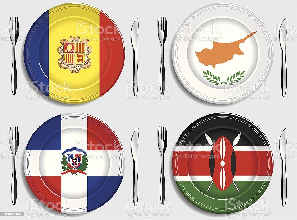 Food-Andorra-Cyprus-Dominican Republic-Kenya royalty-free stock vector art