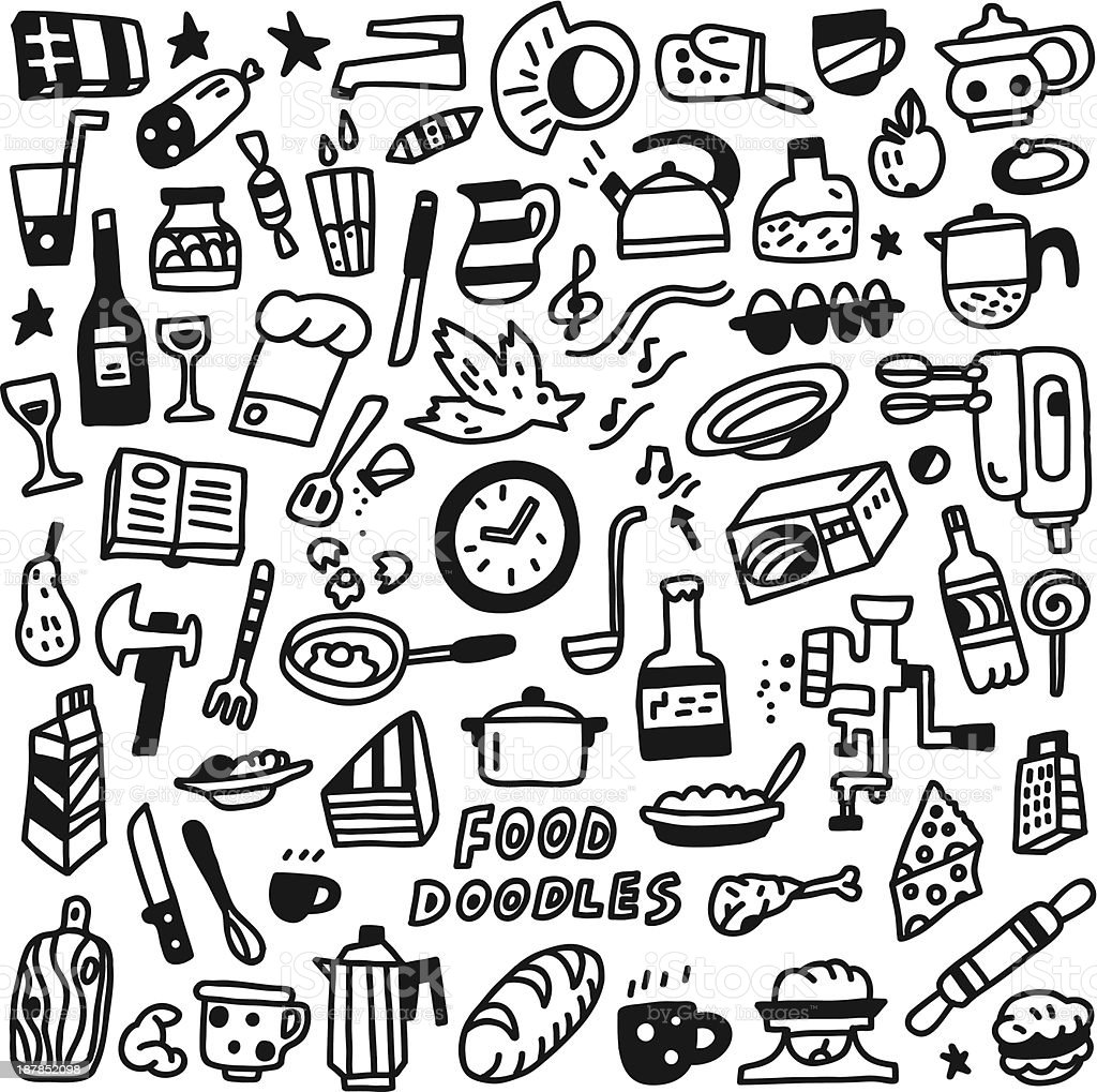 Food,cookery - doodles set royalty-free stock vector art