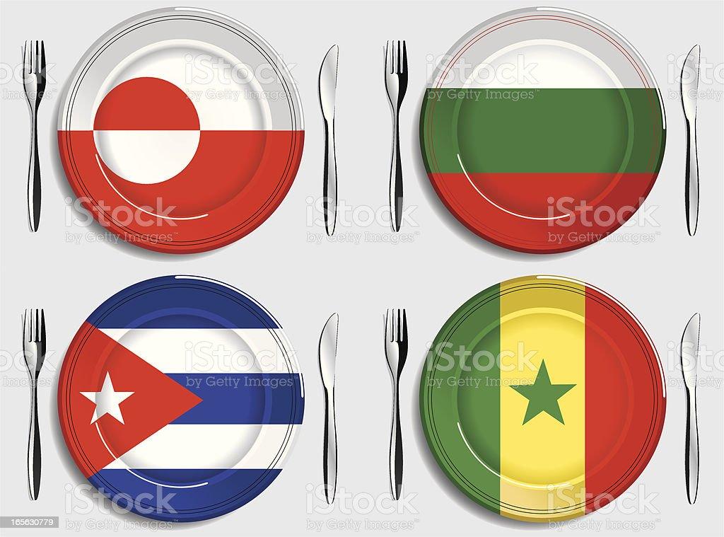 Food-Greenland-Bulgaria-Cuba-Senegal royalty-free stock vector art