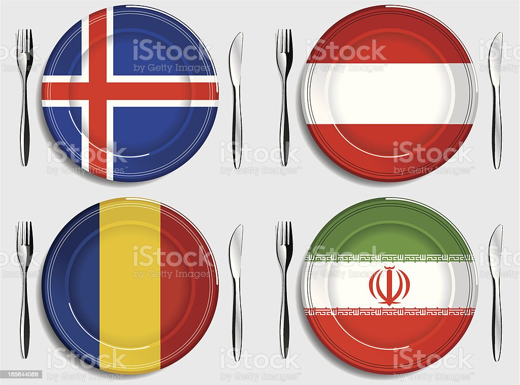 Food-Iceland-Austria-Chad-Iran royalty-free stock vector art