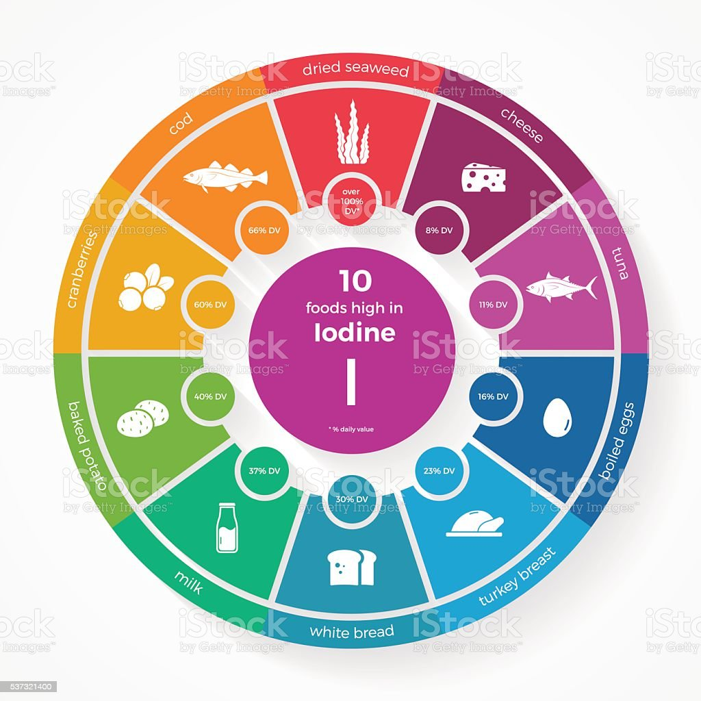 10 foods high in Iodine. Nutrition infographics vector art illustration