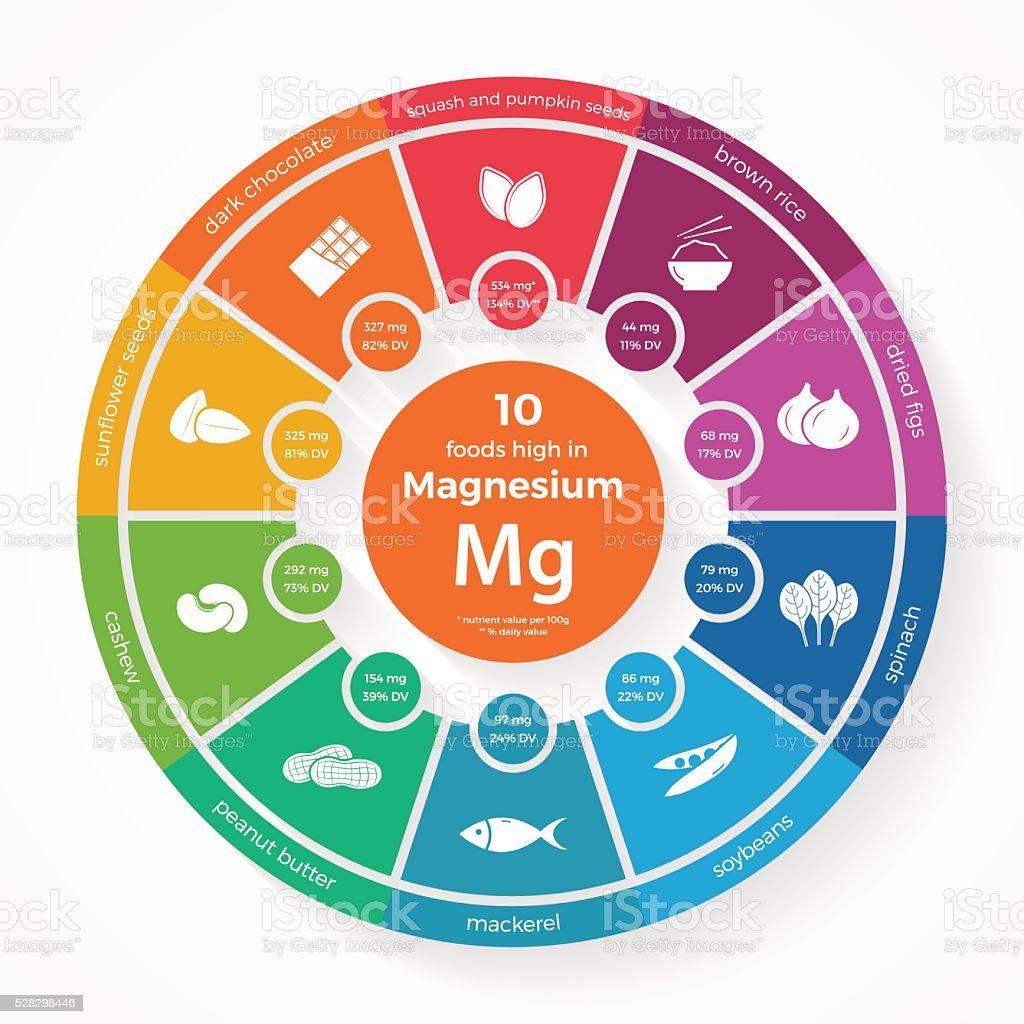 10 foods high in Magnesium vector art illustration