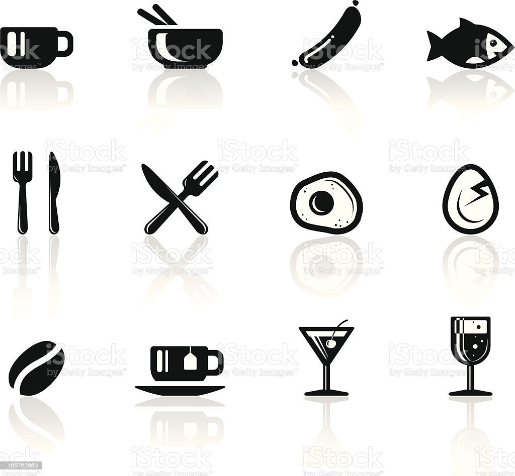 Foods icon set vector art illustration