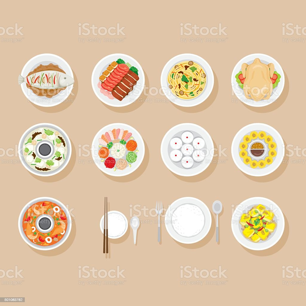 Foods On Dish Set vector art illustration