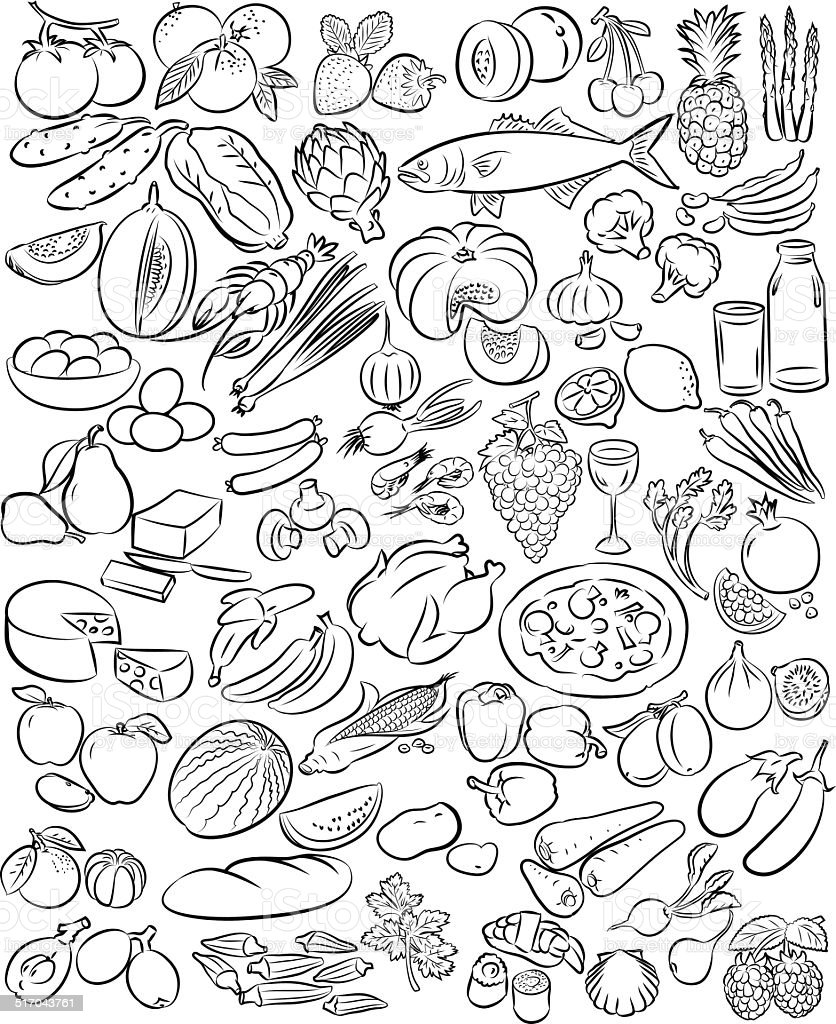 Foods vector art illustration