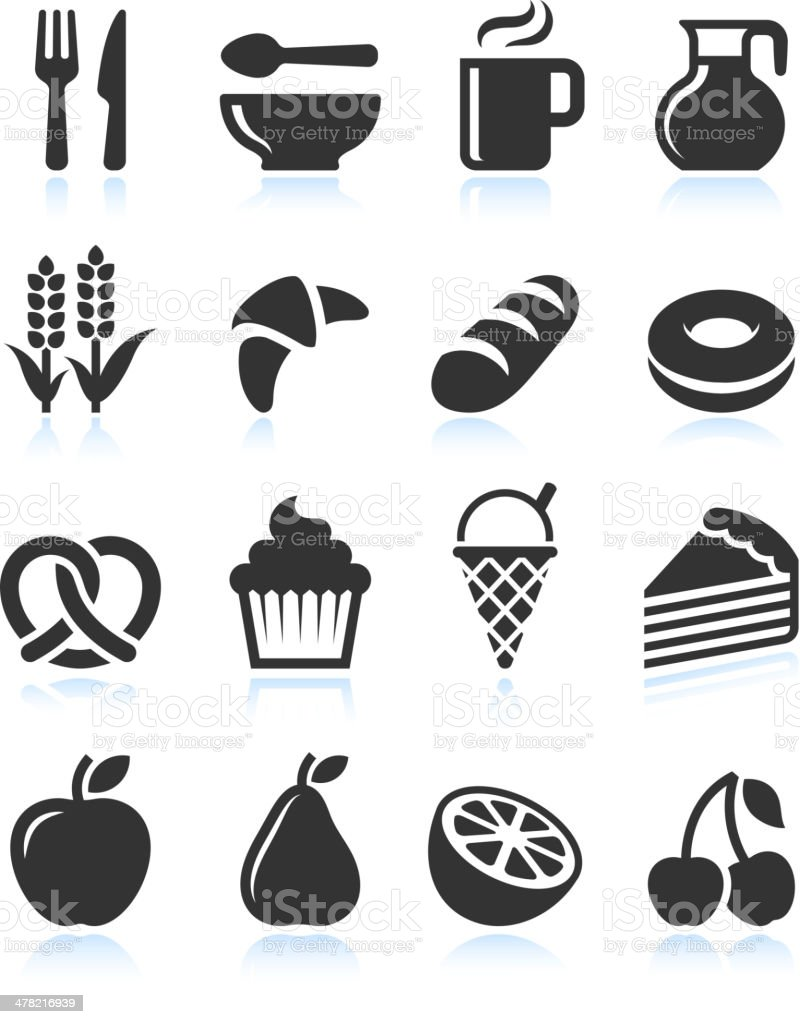 Foods with Black and White royalty free vector icon set vector art illustration