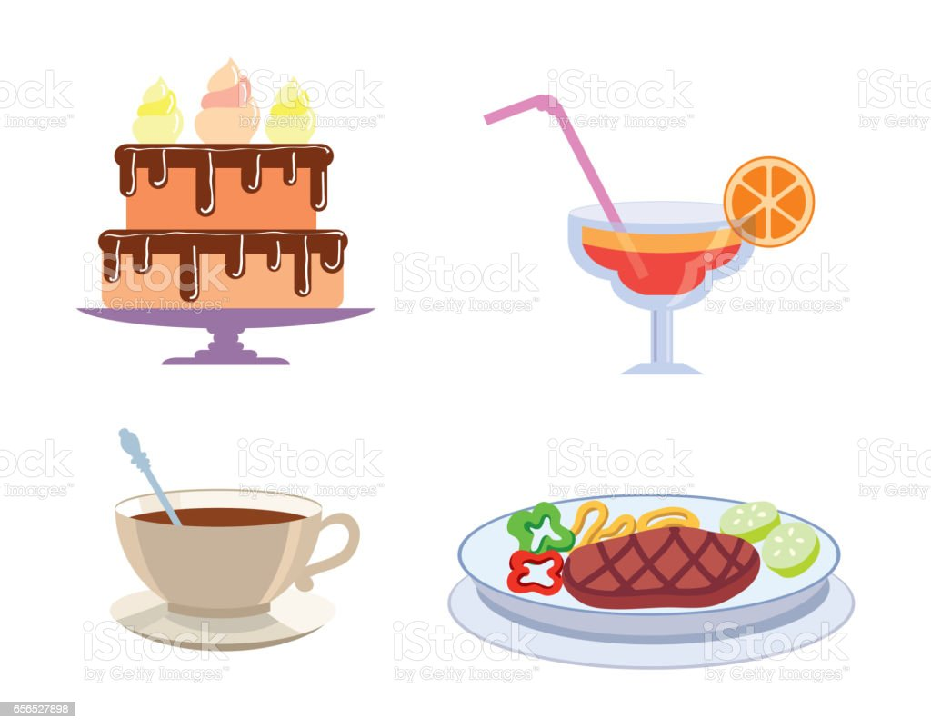 foodstuffs color icons vector art illustration